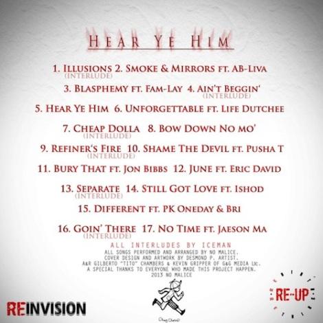 No Malice 'Hear Ye Him' tracklist