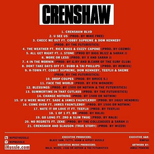Nipsey Hussle 'Crenshaw' Tracklisting